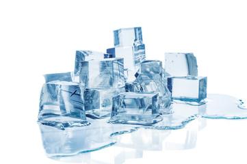 Melting ice cubes on white background
