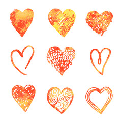 Hand drawn hearts. Design elements for Valentine day.