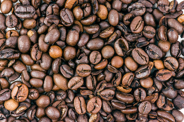 Closeup Of An Italian Roasted Coffee Beans With High Detail