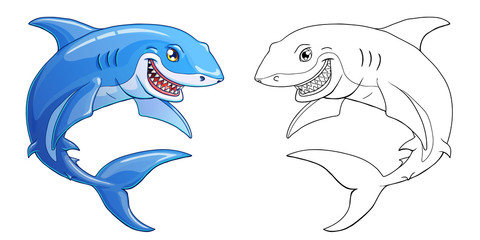 Smiling shark on a white background