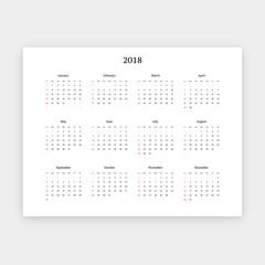 Simple 2018 calendar vector horizontal template. Week begins on Sunday.