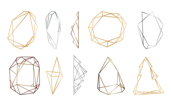 polygonal frames set. Gold, silver, black glitter triangles, geometric shapes. Diamond shape.