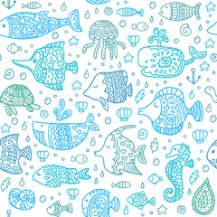 Seamless pattern with sea creatures. Template for style design.