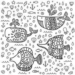 Vector cute marine life doodle set. Vector illustration for your cute design.