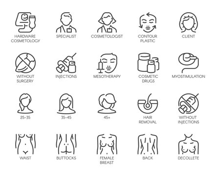 Cosmetology line icons. Big set of 20 outline pictograms isolated on white background. Beauty therapy, bodycare, healthcare, wellness treatment linear symbols. Graphic signs. Vector illustration