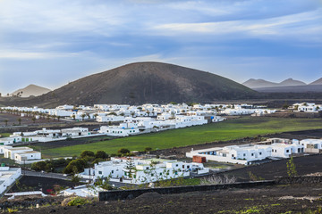 sunset over village of Yaiza in Lanzarote