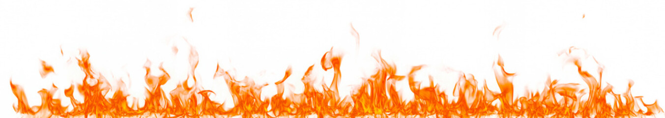 Photo on textile frame Fire / Flame Fire flames isolated on white background.