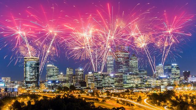 Spectacular Fireworks over Perth Skyline