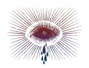 Black empty evil eye crying watery tears.
