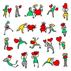 Valentine Day people icons. Thin simple pictograms with shopping family with hearts