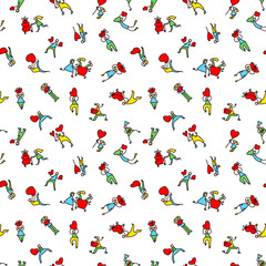 Valentine Day people background. Seamless pattern with shopping men and women with hearts
