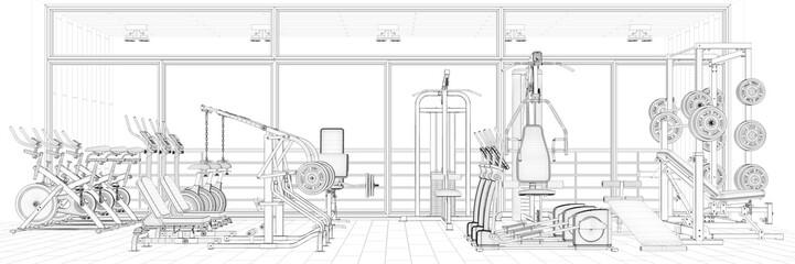 Drahtgitter CAD Modell von Fitnesscenter