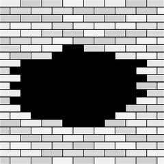 Vector Brick Wall with Hole and Sample Text - White