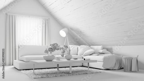 Sofa Im Weißen Wohnzimmer Im Dachgeschoss