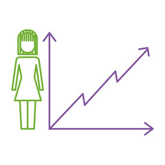 businesswoman with diagram arrow growth finance