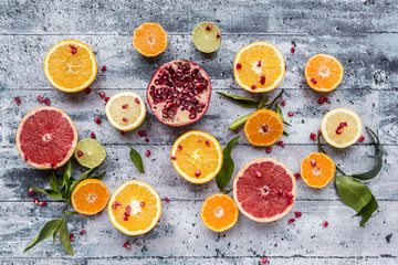 Various citrus fruits, orange, tangerine, grapefruit, lime, lemon and pomegranate