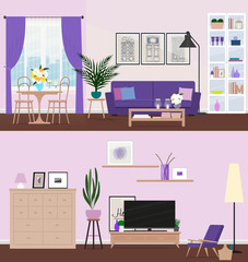 Living room with furniture. Cozy interior. Vector illustration.