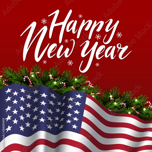 vector christmas patriotic card with tree lettering and flag of usa happy new year