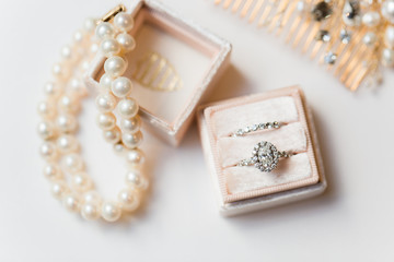 Wedding rings in blush ring box
