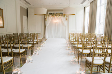 Elegant indoor wedding ceremony set up