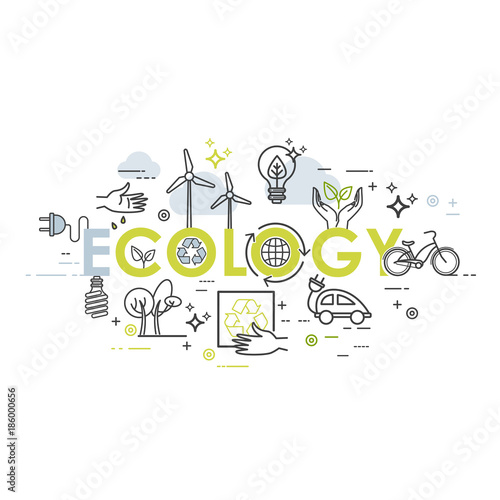 ecology lifestyle green energy recycle vector template in linear
