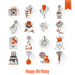 Happy Birthday Icons Set