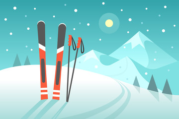 Skiing in the mountains. Vector illustration in trendy flat style with pair of skis on the snowy landscape background.