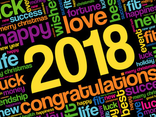 2018 year greeting word cloud collage, Happy New Year celebration greeting card