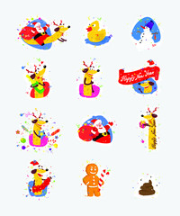 Set of icons, illustrations for the new year, Christmas. Santa Claus and yellow dog symbol Chinese New Year. Vector stickers in a flat style. Images are isolated from the background and ready for prin