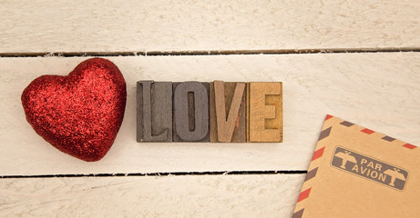 Valentines Themed Background on a Wooden Table