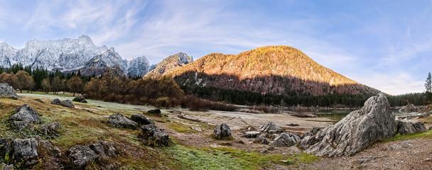 Mountains panorama with lake.