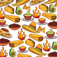 mexican fast food seamless pattern vector illustration