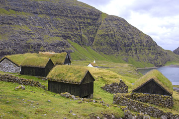 View to little cottages in Saksun, Faroe Islands