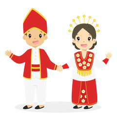 Happy boy and girl wearing Maluku traditional dress and holding hands. Indonesian children, Maluku traditional dress cartoon vector