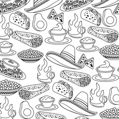 mexican fast food seamless pattern vector illustration outline design