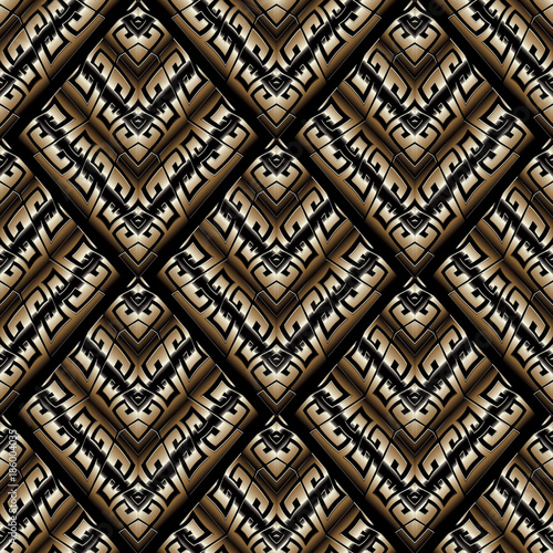 Modern Greek Key Seamless Pattern Abstract Black Gold Striped Meander Background 3d Wallpaper