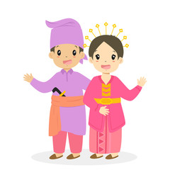 Happy boy and girl wearing Riau traditional dress. Indonesian children, Riau traditional dress cartoon vector