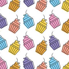 cupcake sweet dessert seamless pattern