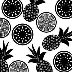 orange pineapple and watermelon fruit seamless pattern vector illustration pictogram design