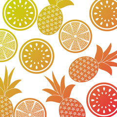 orange pineapple and watermelon fruit seamless pattern vector illustration
