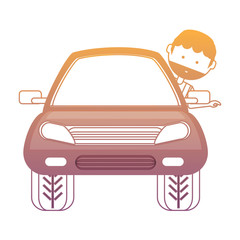 cartoon man and car icon