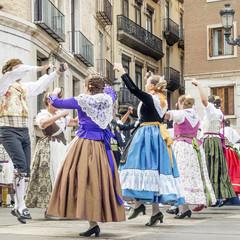 Traditional dancing in the Fallas Balls Al Carrer, Plaza de la Virgen, Valencia, Spain