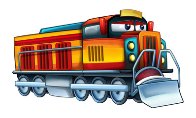 cartoon funny looking train - illustration for children