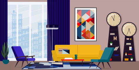 Bold interior design of the living room in the style of the sixties.