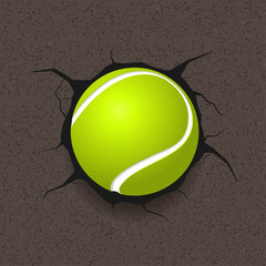 Tennis ball and cracked background