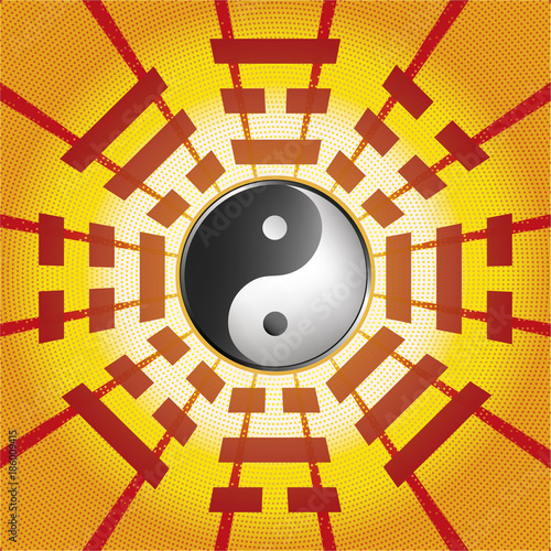 Bagua Symbol Of Taoism Daoism With 8 Trigrams With Yin Yang Symbol
