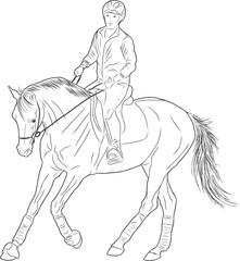 Sketch of a rider on a horse.