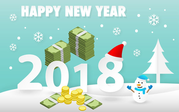 Happy New Year 2018 card with cute snowman and pile of money vector