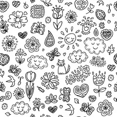 Spring doodles pattern. Hand draw flowers, sun, clouds, butterflies. Season of the blossom, illustration, cute background. Can be used for textile, website background, book cover, packaging.