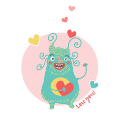 Sweet card for Valentine's Day with blue monster. Monster with heart. I love you. Cartoon vector flat style illustration isolated on white background.